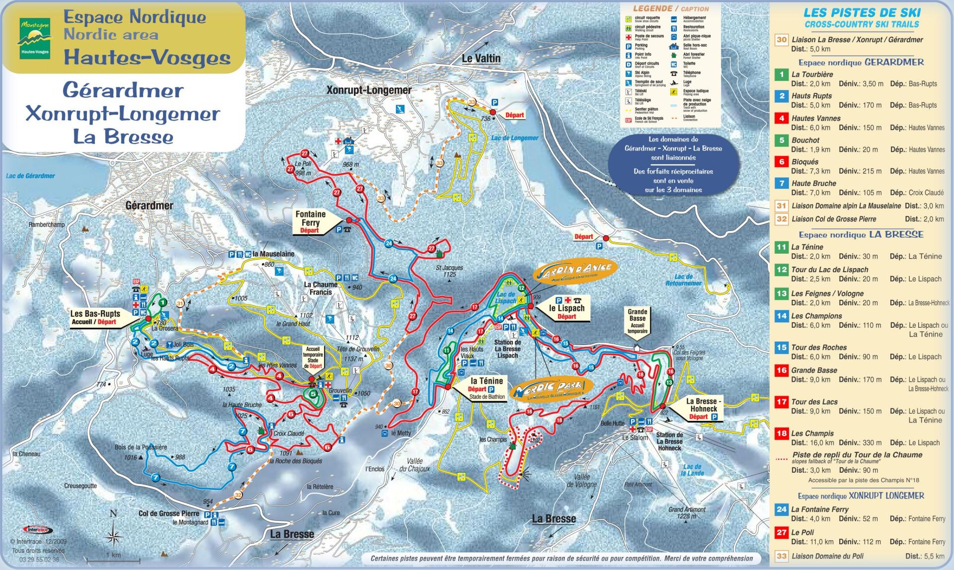 Trail map of Gérardmer, Xonrupt-Longemer and La Bresse